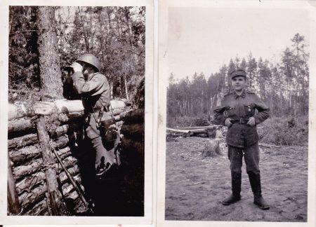 Alikersantti Yrjö Norrena tähystyspaikalla ja vapaalla