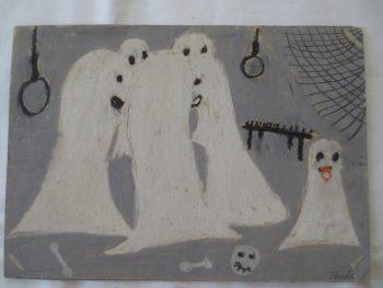 Kummitusten kokous lapsen piirustus