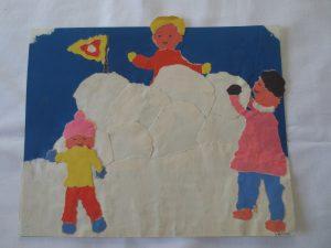 Lapset ja lumilinna lapsen piirustus