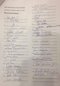Aloite sisäilmasairaille sopivien koulutilojen saamiseksi Vaula Norrena 2016 allekirjoitukset