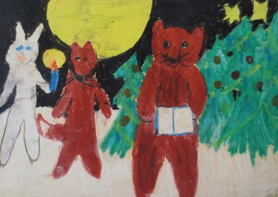 Vaula Norrena piirustus metsän eläimet jouluna