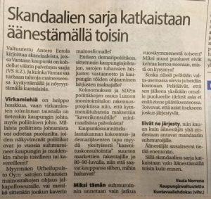 Skandaalien sarja mielipidekirjoitus Vaula Norrena VS 2017