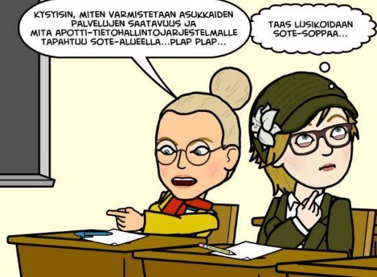Vaula Norrena ja Siru Kauppinen Bitstrips sotesoppa