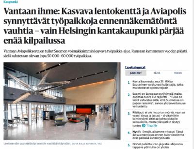 Aviapolis ja lentokenttä HS juttu 2017