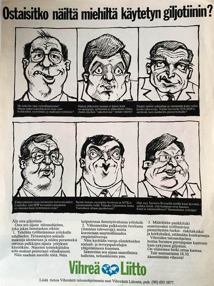 Vaalimainos Vihreä Liitto 1992 Ostaisitko käytetyn giljotiinin