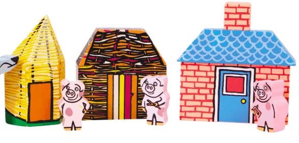 Viisi pientä porsasta rakensi kouluja ja päiväkoteja