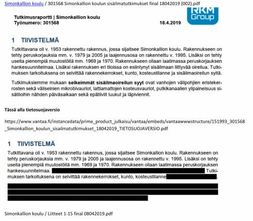 Ote alkuperäisestä ja sensuroidusta Simonkallion koulun kuntoraportista 2019.