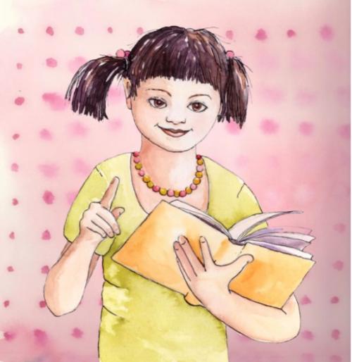Piirroksessa tyttö ja kirja