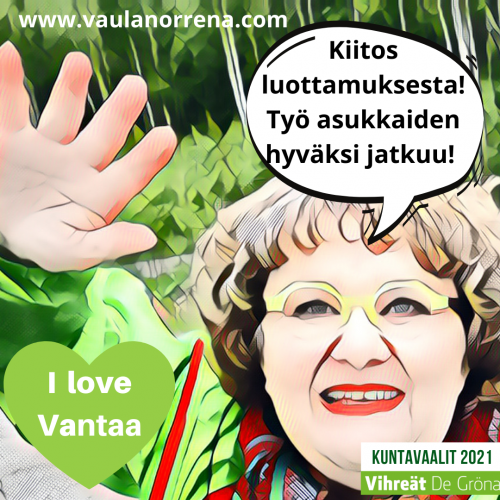 Kiitos luottamuksesta! sanoo Vaula Norrena