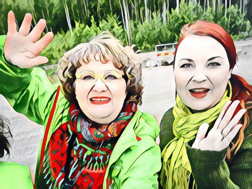 Vaula Norrena ja Eve Rämö vaalityössä 2021